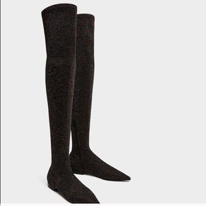 Zara Glitter Over The Knee Boots